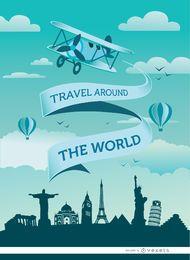 Mundo fita viagens de avião