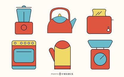 Pacote de utensílios de cozinha plano vintage