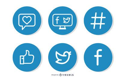 Facebook simple y signos de Twitter