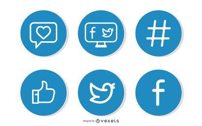 Sinais simples do Facebook e Twitter