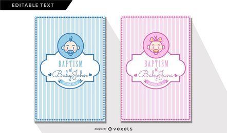 Cartões do convite do baptismo do vintage