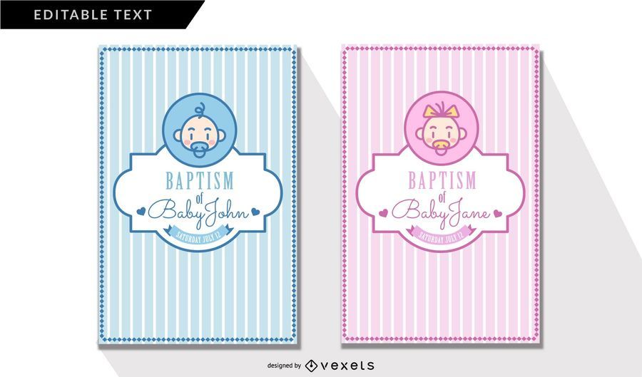 Cute Baptism Invitation Cards