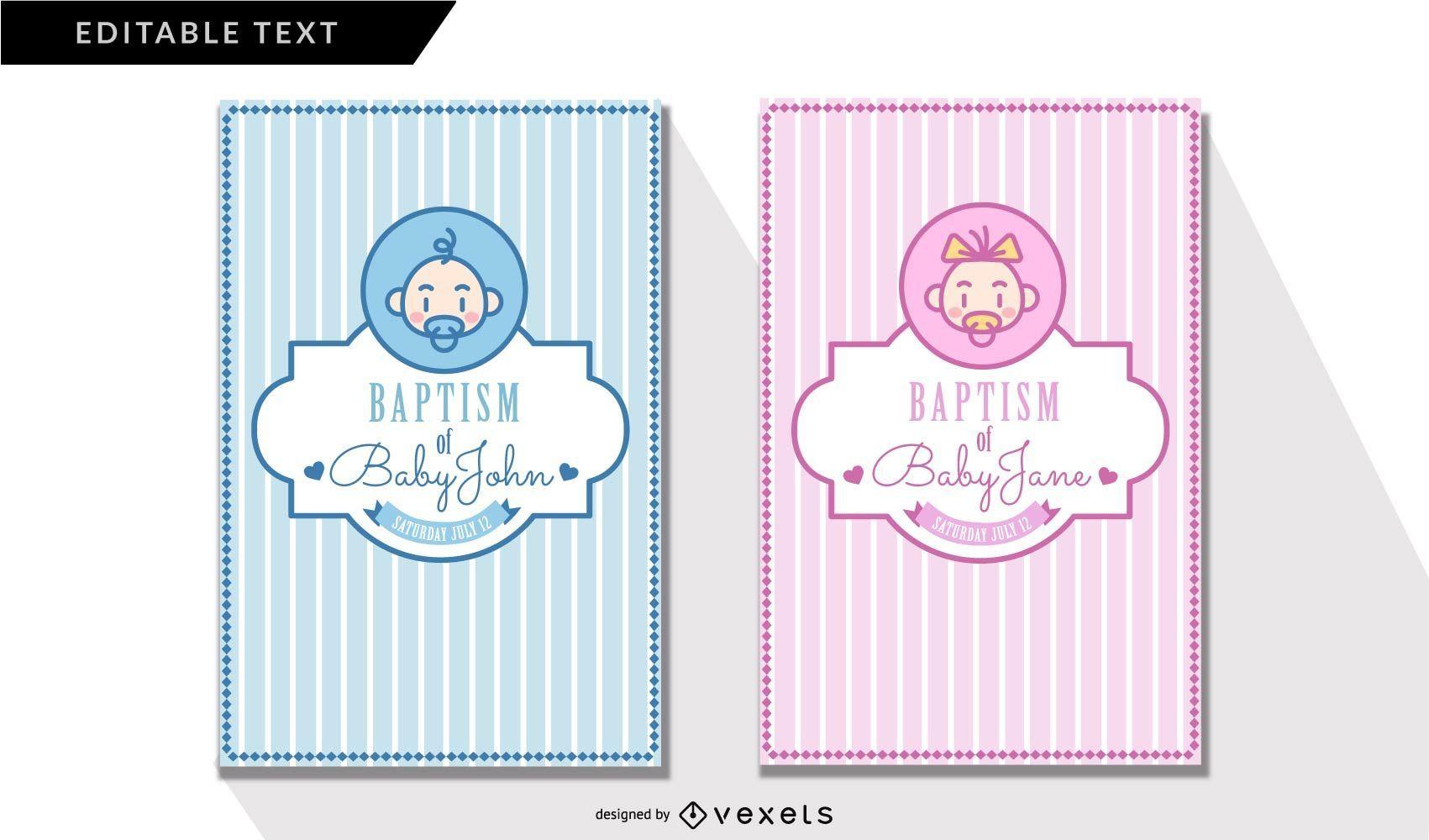 Cartões de convite de batismo fofos