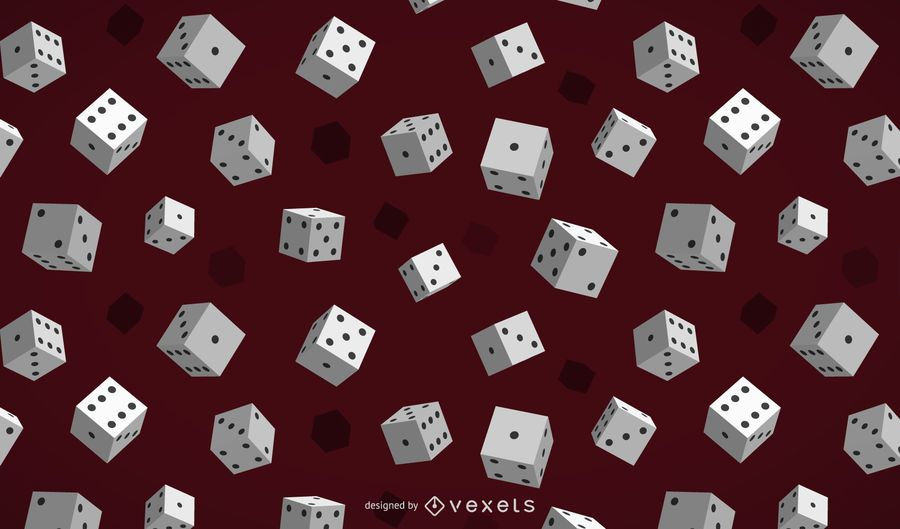 Glossy 3D Gambling Dices Background