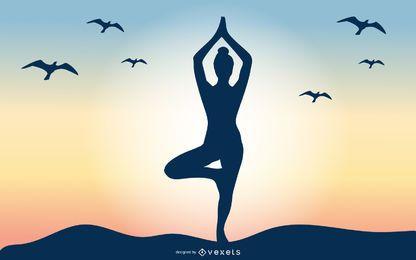 Fundo de nascer do sol de mulher de ioga