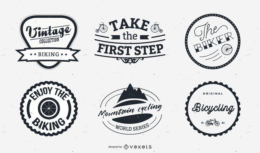 Rótulo de bicicleta e conjunto de logotipos criativos