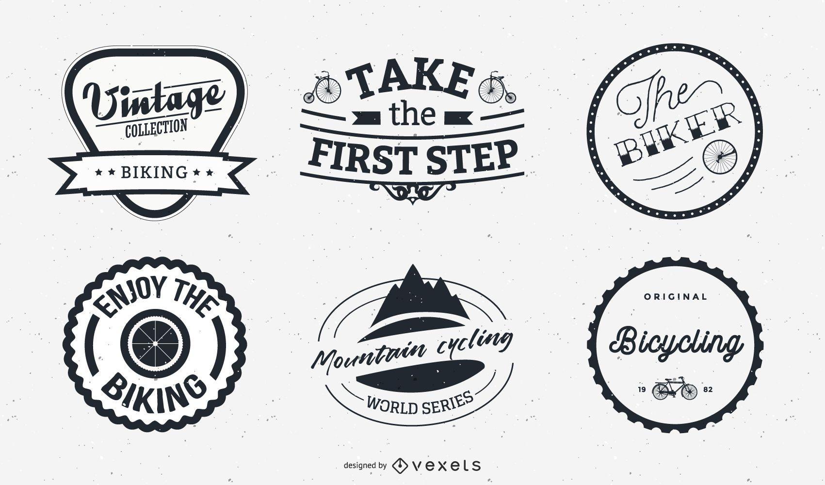 Conjunto de diseño de logotipo y etiqueta de bicicleta
