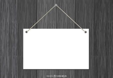 Blank Paper Plate Hanging on Wood