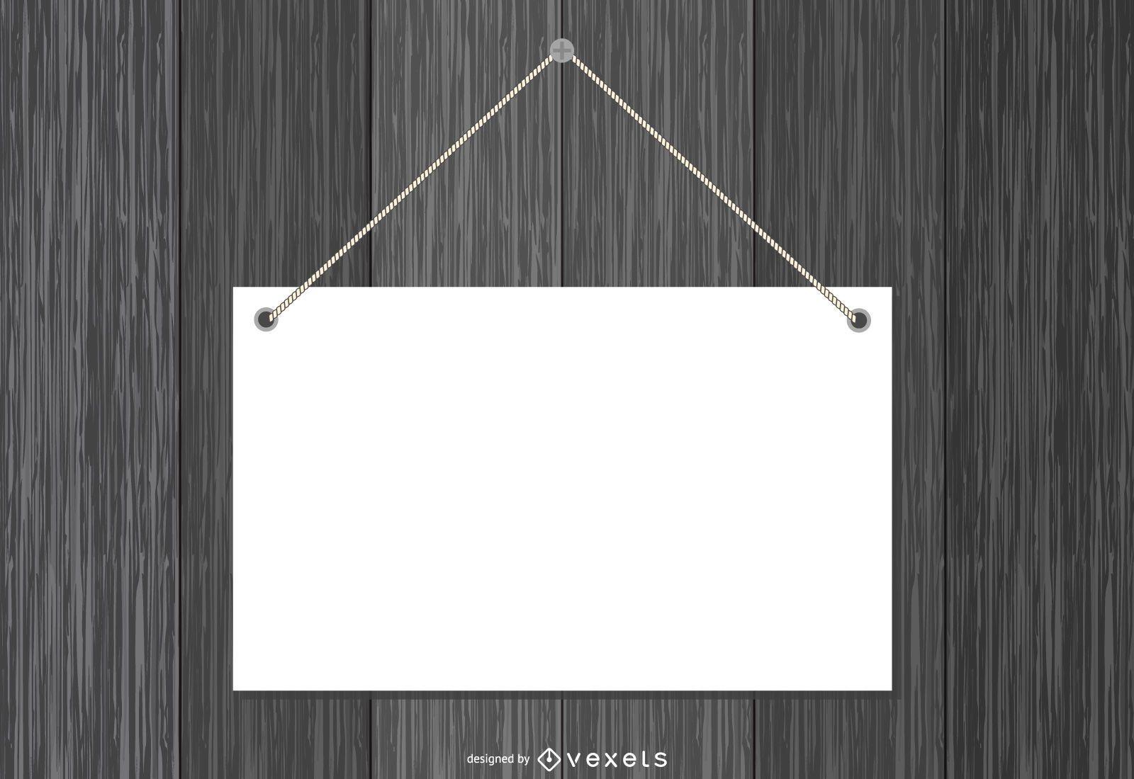 Plato de papel en blanco colgado en madera