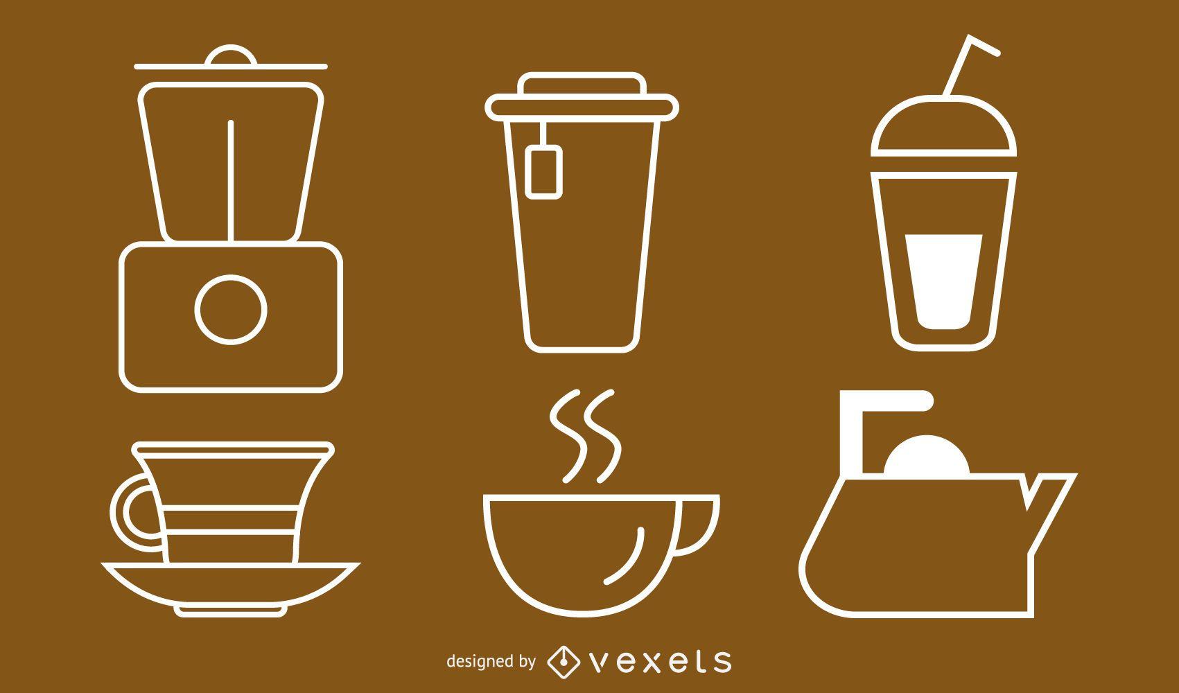 Paquete de iconos de utensilios de cocina contorneados