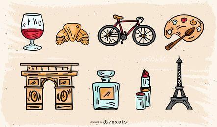 Paquete de iconos conceptual de París vintage