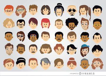 40 cabeças de personagem de desenho animado
