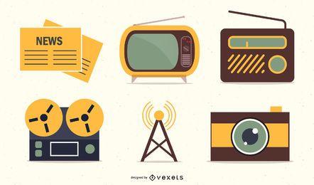 Conjunto de iconos retro de medios y publicación