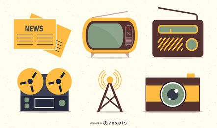 Media & Publishing Retro Icon Set