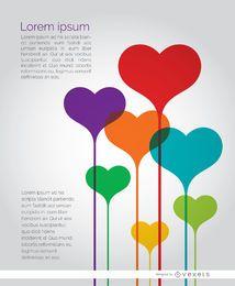 Póster de corazones de colores
