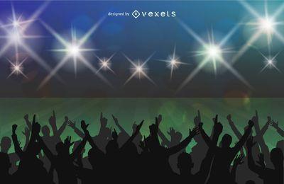Cartaz do estádio de futebol multidões de luzes