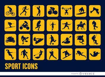 28 ícones quadrados de silhuetas de esportes