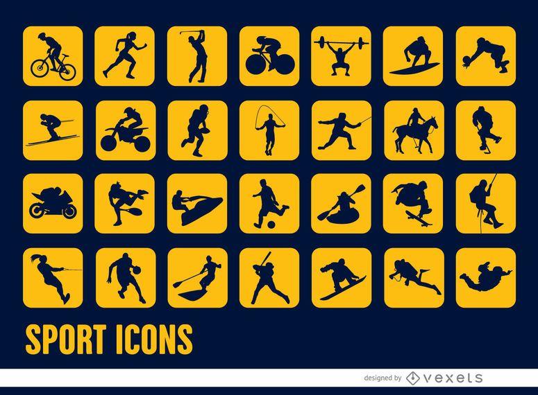 28 ícones quadrados de silhuetas de esporte