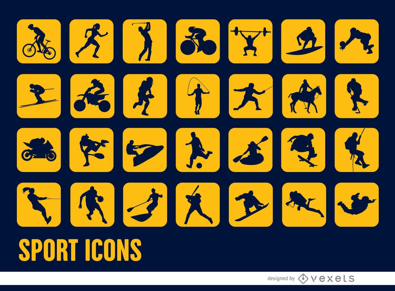28 iconos cuadrados de siluetas deportivas