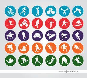 30 ícones de círculo do esporte