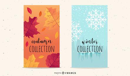 Folletos de vacaciones de otoño y copos de nieve de invierno