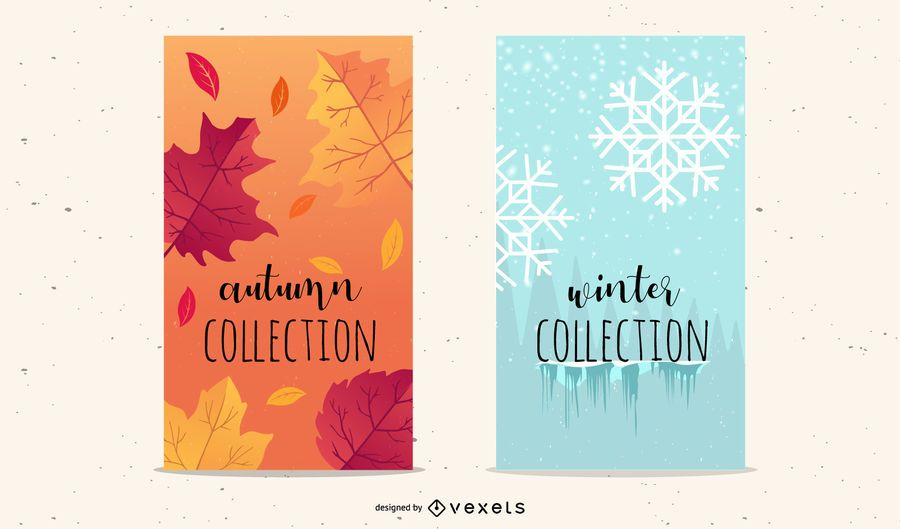 Folletos de otoño e invierno de copos de nieve