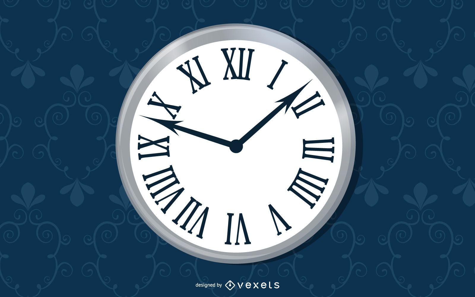 Reloj de pared simple de patrones sin fisuras