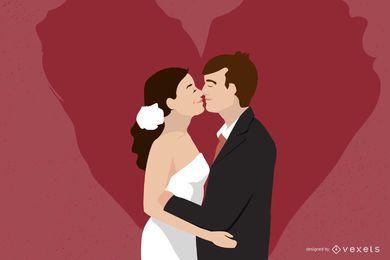 Besar a la pareja de novios enamorada