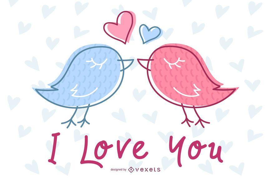 Invitación de boda Lovebirds dibujados a mano