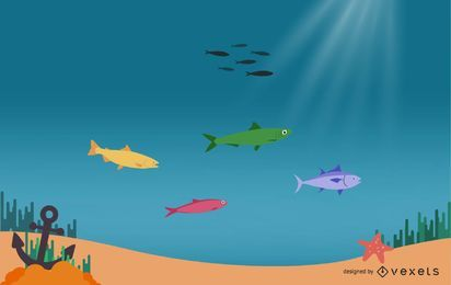 Beautiful Underwater World Cartoon