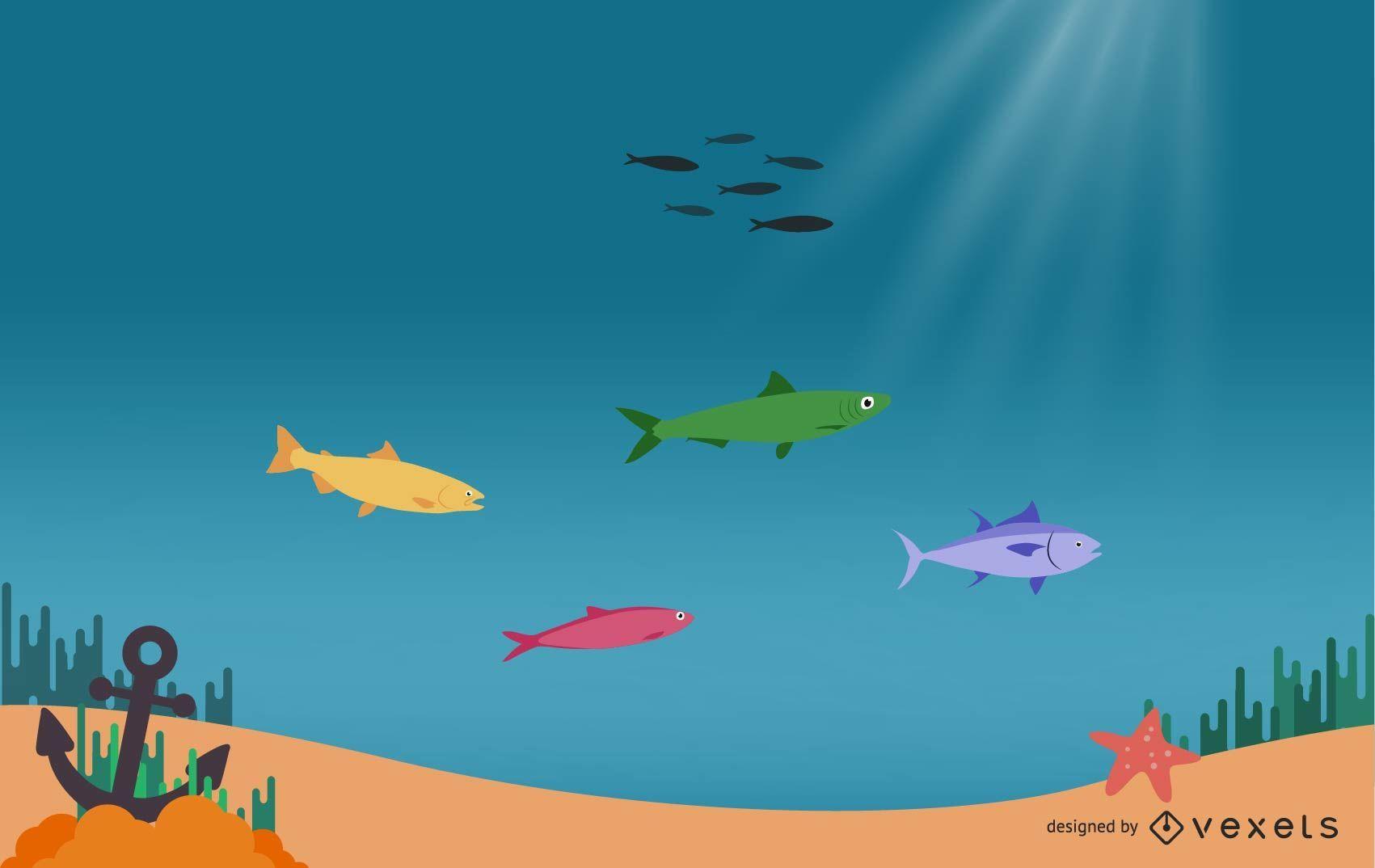 Dibujos animados hermoso mundo submarino