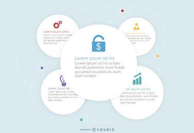 Círculos blancos negocios infografía