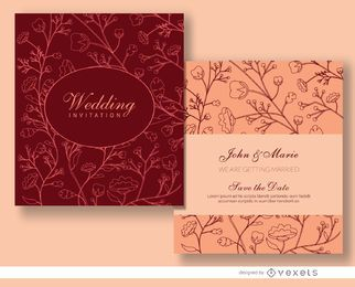 Floral marriage invitation template