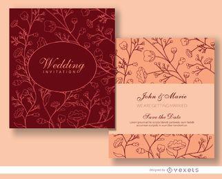 Plantilla de invitación de matrimonio floral