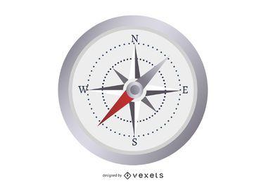 Cronômetro brilhante com bússola náutica