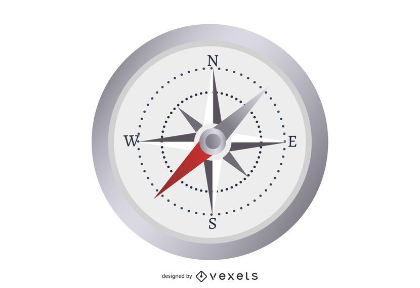 Glossy Stopwatch with Nautical Compass