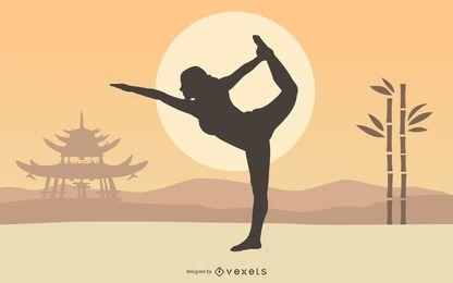 Mujer practica yoga jardín zen