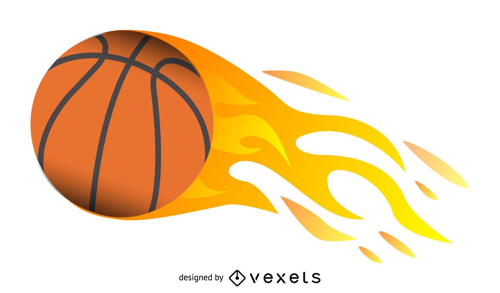 Baloncesto realista en llamas