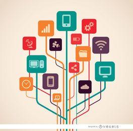 Árvore de ícones de tecnologia de computador
