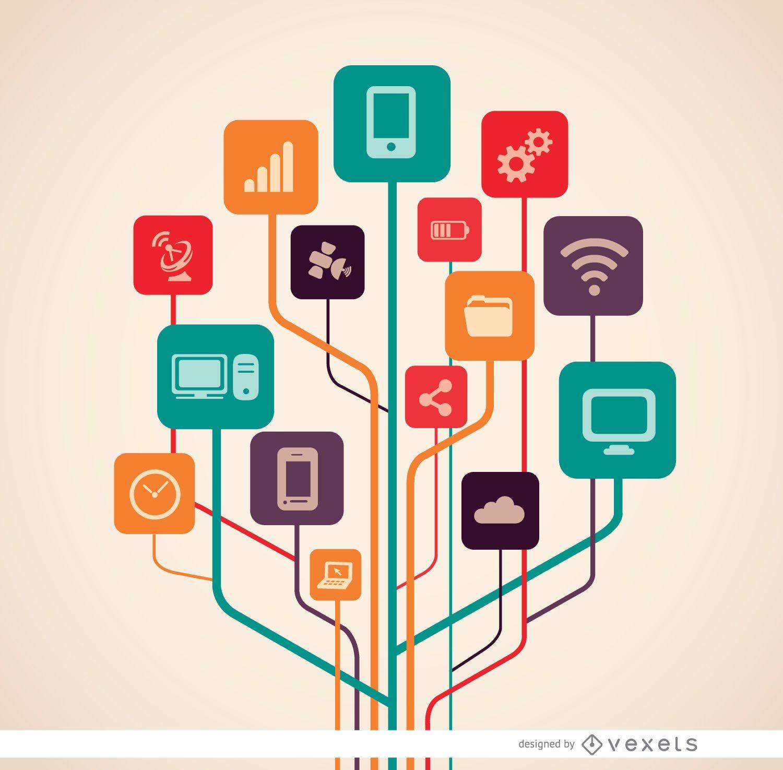 Árbol de iconos de tecnología informática
