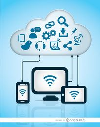 Iconos de almacenamiento de computadora en la nube