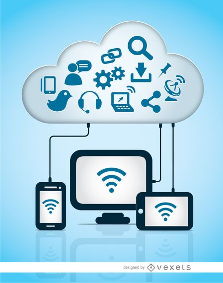 Cloud computer storage icons