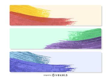 3 banners de amostra de tinta colorida