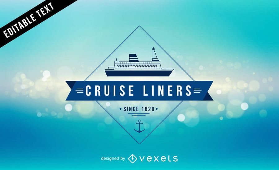 Cruise Liner Label Ocean Background