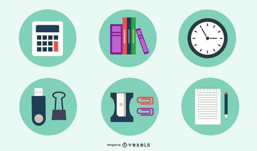 Conjunto mínimo de ícones de escritório e estacionário