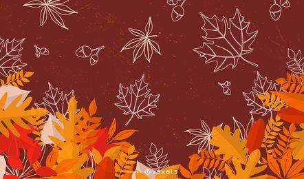 Folhas de outono bonito fundo sazonal