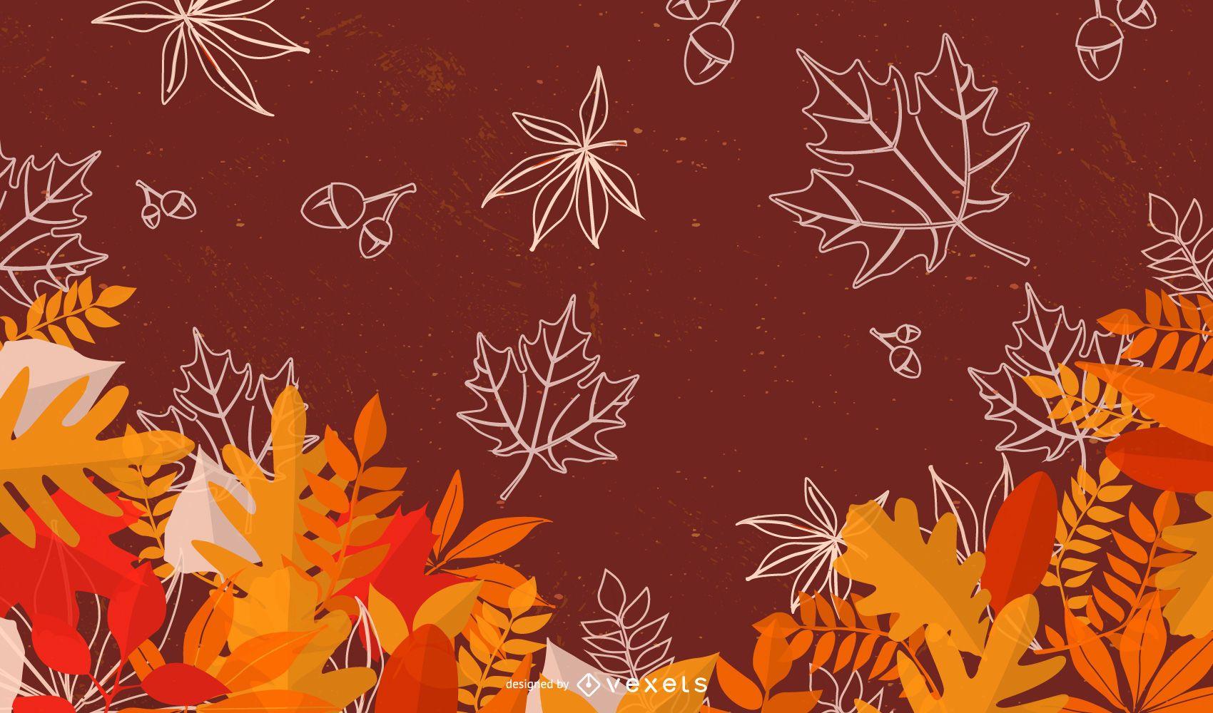 Hermoso otoño hojas de fondo estacional