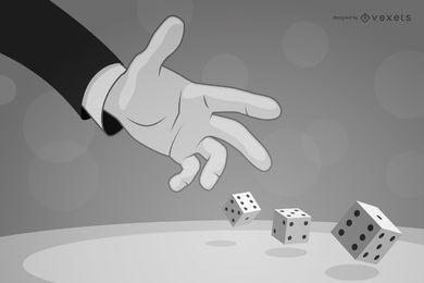 Mão jogando dadinhos em preto e branco