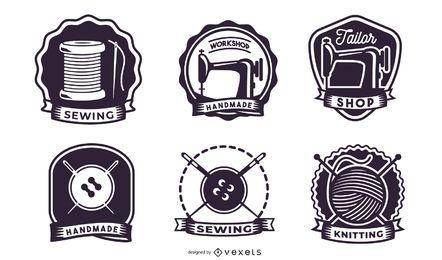 Pacote de etiquetas de tricô retro