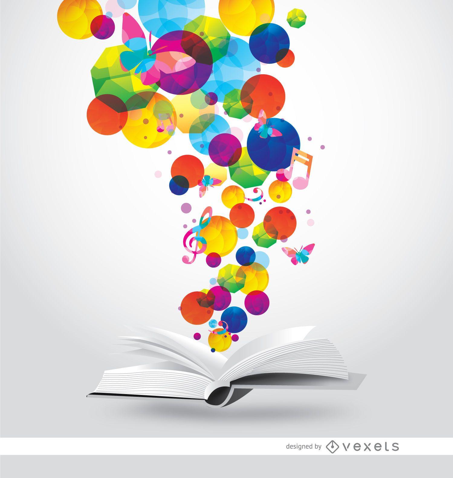 Book magic colorful spots